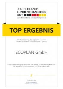 Kundenchampion 2020 ECOPLAN GmbH